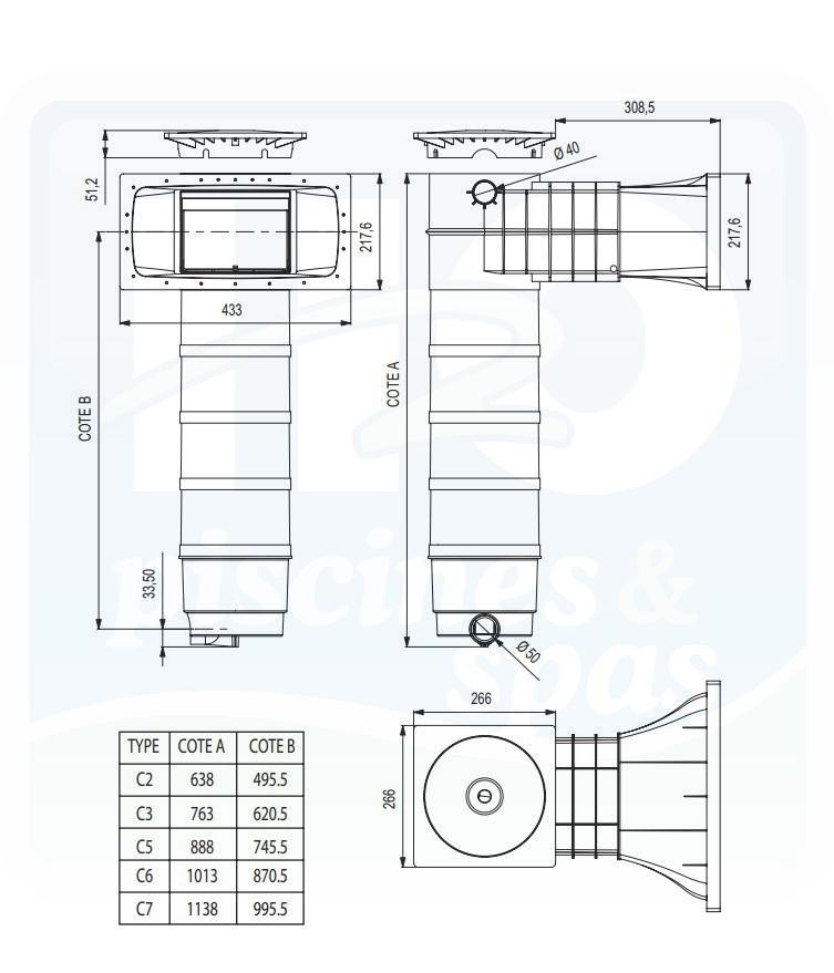 Skimmer weltico a400 skimfiltre lgance avec cartouche for Reparation skimmer piscine