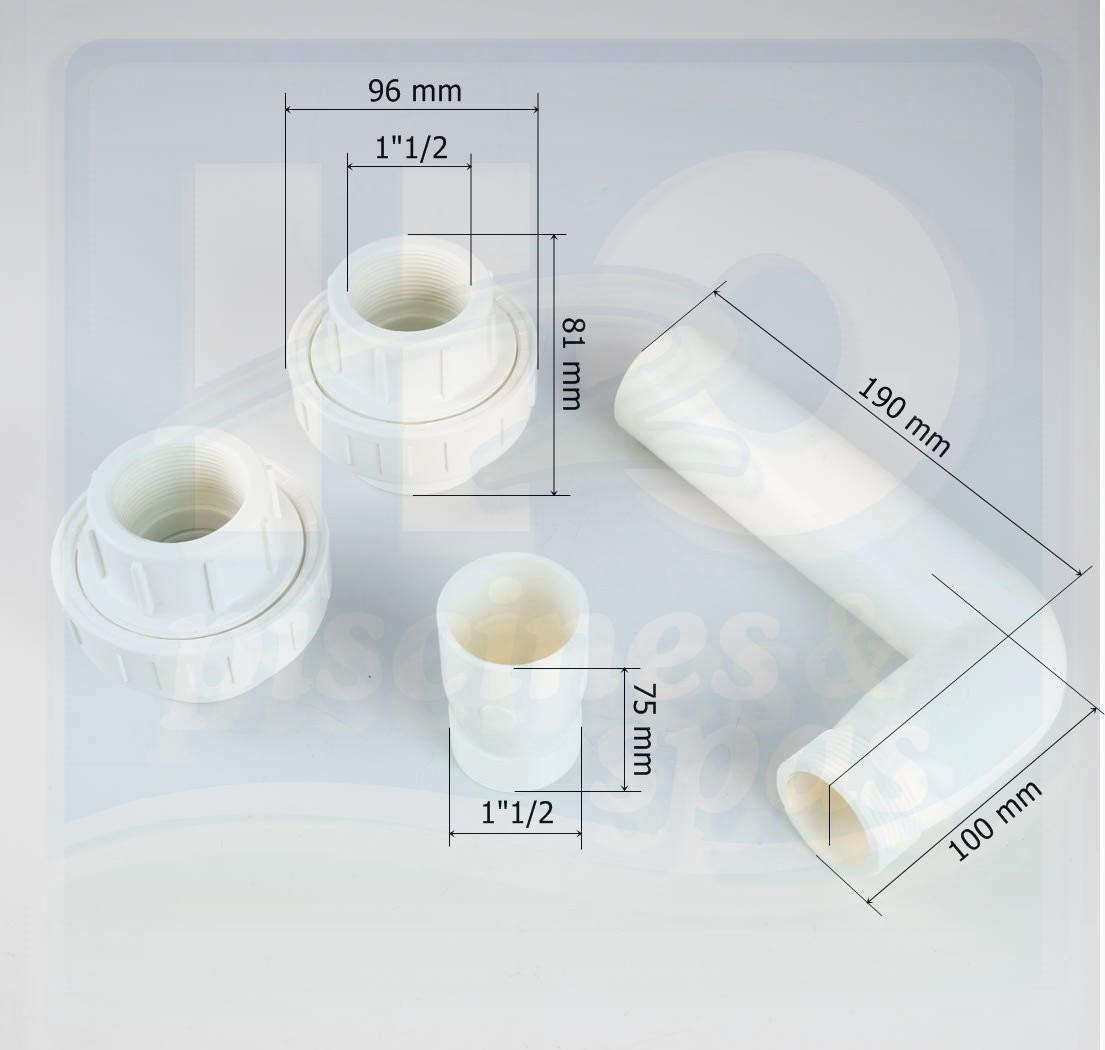 kit de liaison visser pour vanne 1 1 2 du filtre aqualux luberon h2o piscines spas. Black Bedroom Furniture Sets. Home Design Ideas