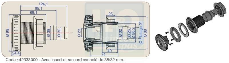Refoulement Rc38 Aquareva Et Jet Orientable Pour Piscine Bois