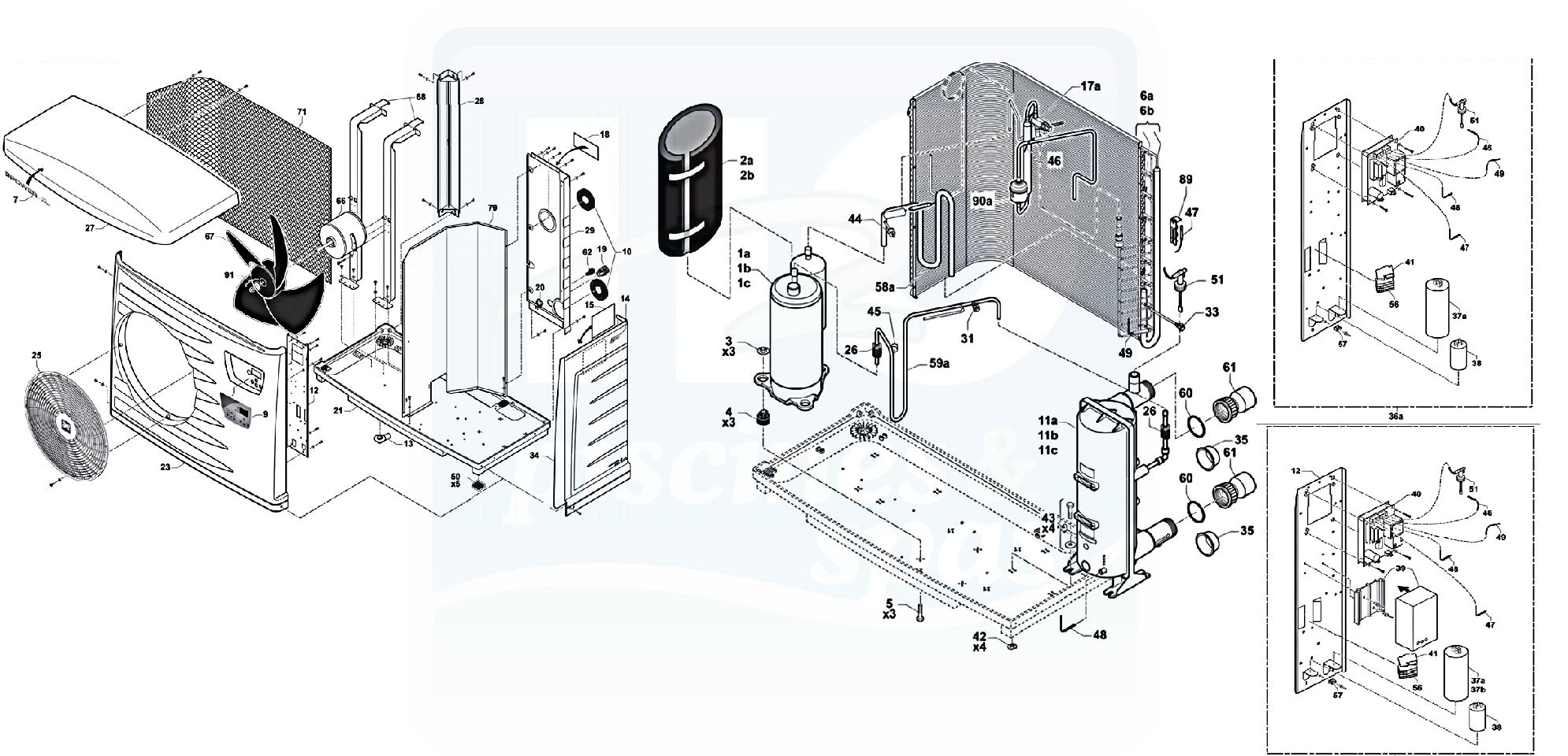 H2o piscines spas pices dtaches pompes chaleur for Capteur de chaleur