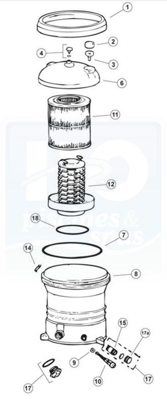 Casse porte cartouche Filtre WFR100 H2o-55083-toutes-les-pieces-detachees-du-filtre-a-cartouche-jacuzzi-cfr